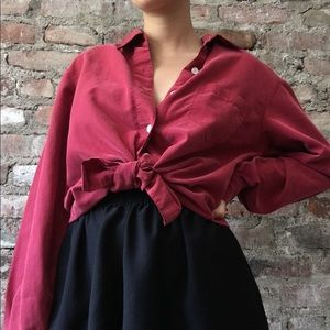Tops - FLOWY RED BUTTON DOWN SHIRT